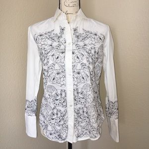 Robert Graham Blouse with Black Embroidery SzM